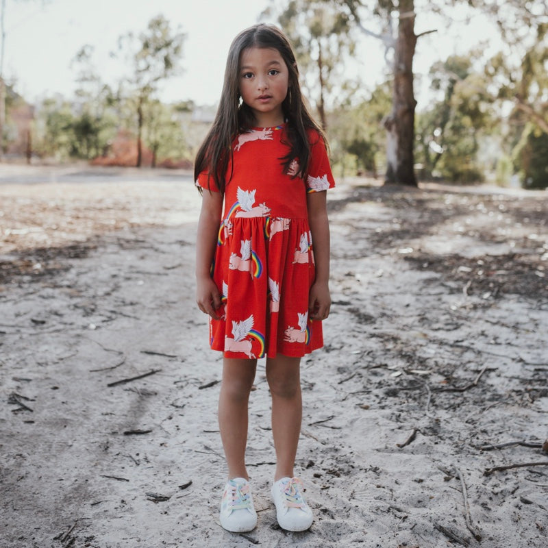Red-girls-pig-rainbow-print-dress-with-pockets