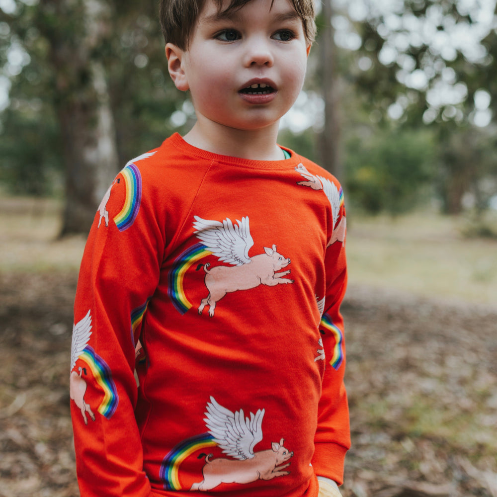 Red-pig-rainbow-print-kids-unisex-boys-girl-jumper