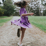 Purple-cat-twirling-girls-cotton-summer-dress-with-pockets