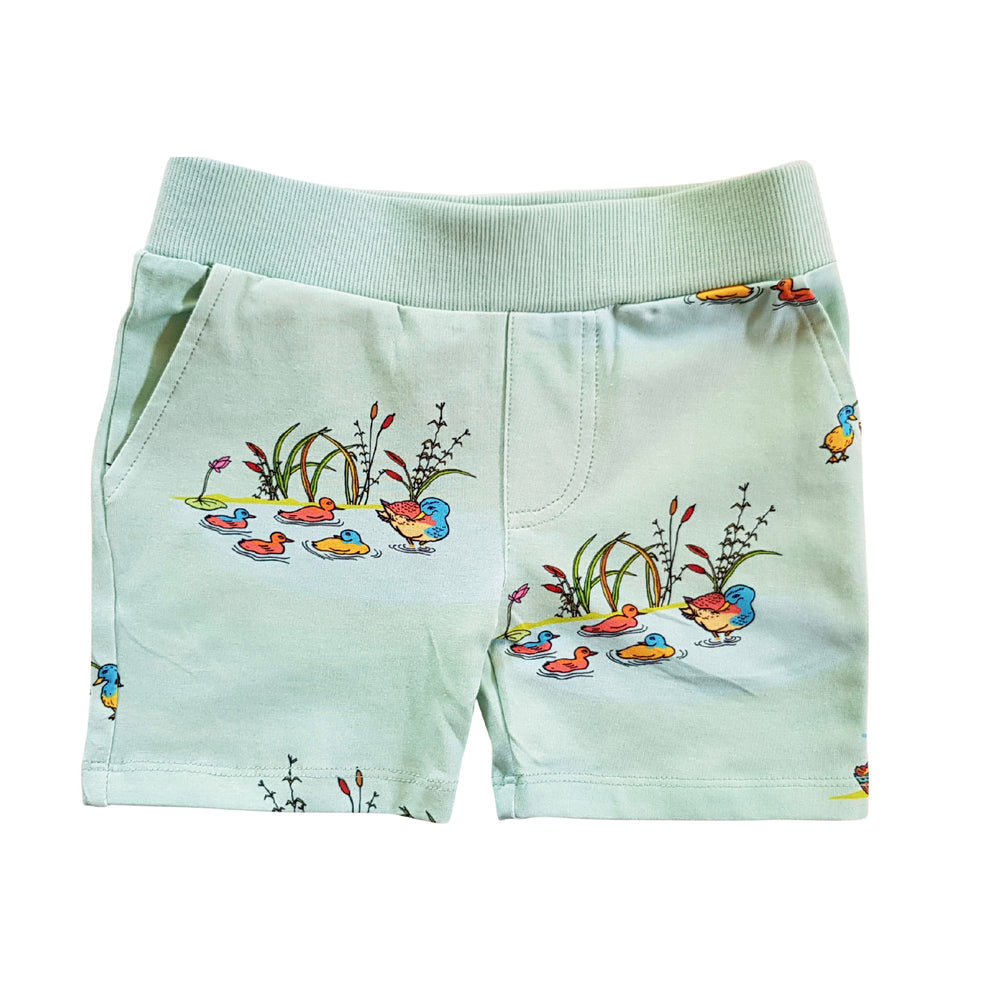 Flatlay pic of drawstring duck shorts with pockets in cool mint blue colour