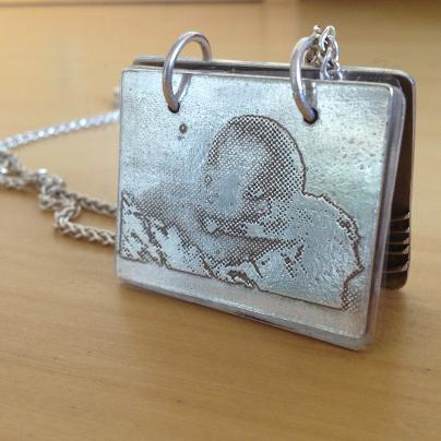 Silver baby photo necklace