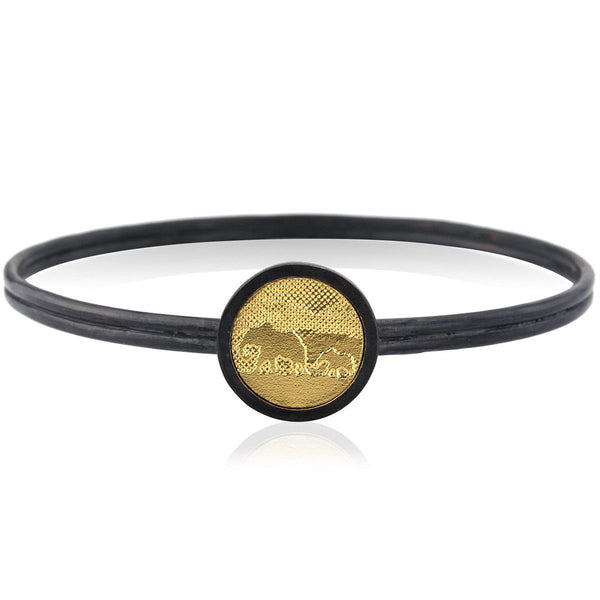 Black and Gold Elephant Bangle