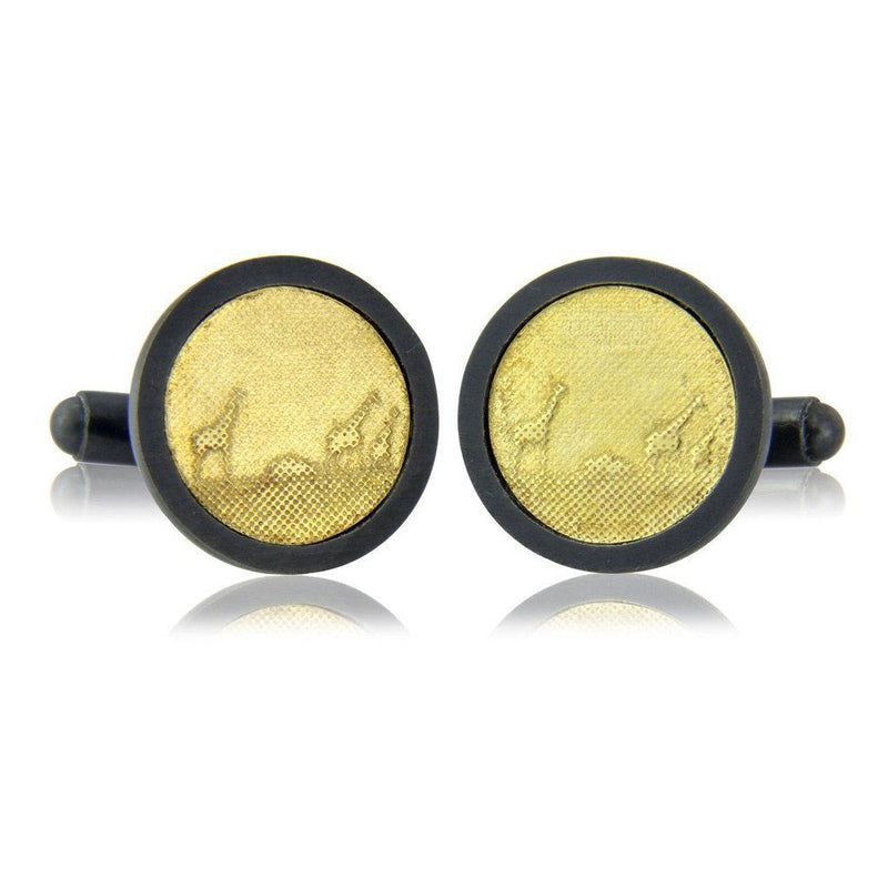 Black and Gold Giraffe Cufflinks