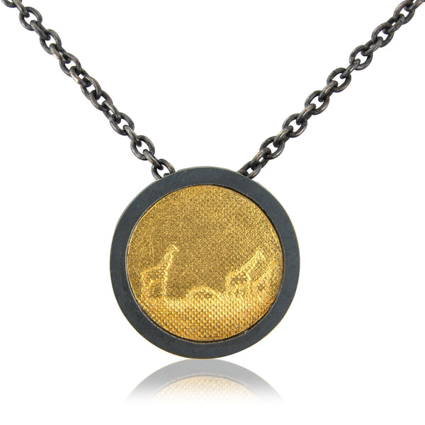Black and Gold Giraffe Necklace (medium frame)