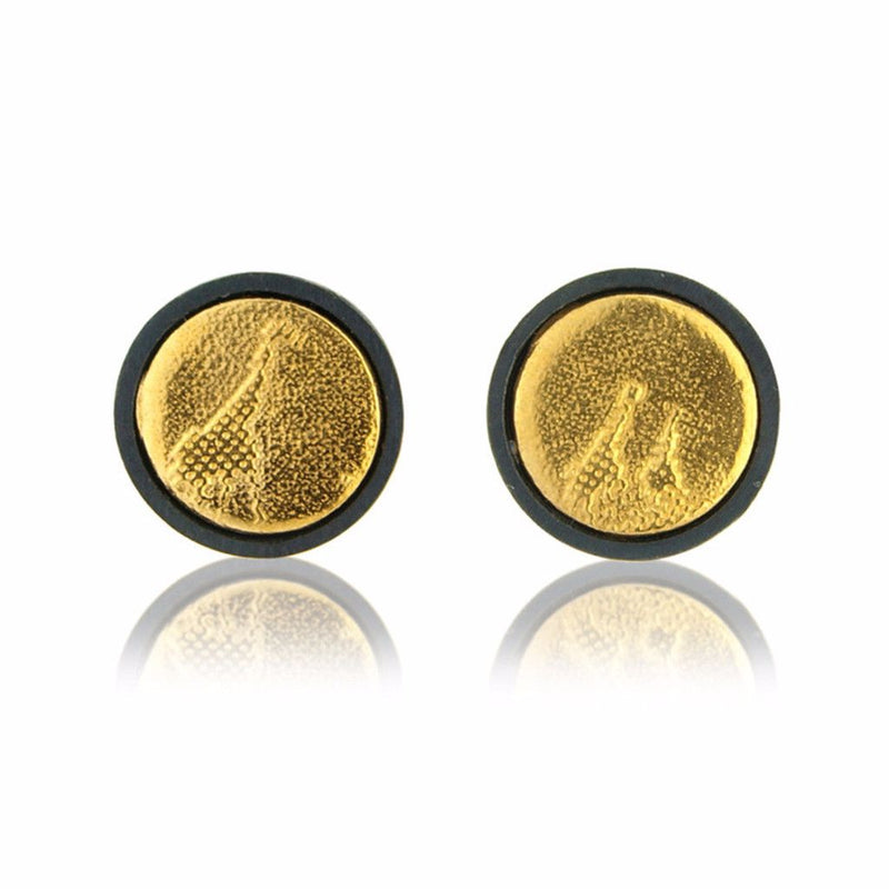 Black and Gold Giraffe Stud Earrings