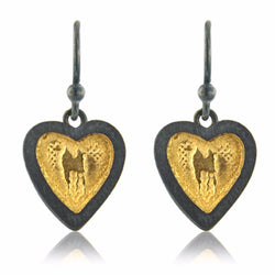 Black and Gold Heart Earrings