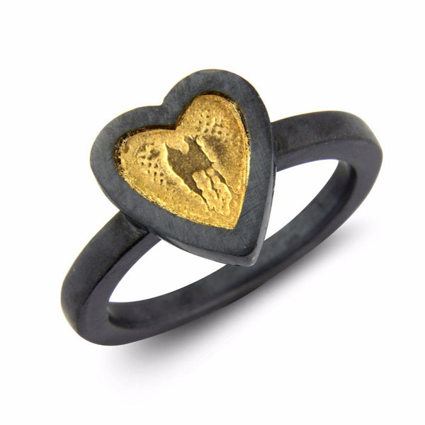 Black and Gold Heart Ring