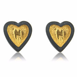 Black and Gold Heart Stud Earrings