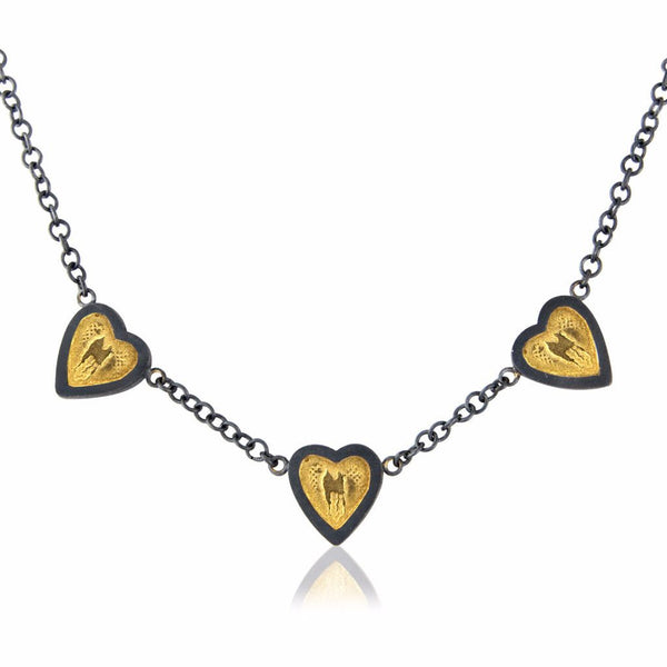 Black and Gold Three Hearts of Gold Necklace