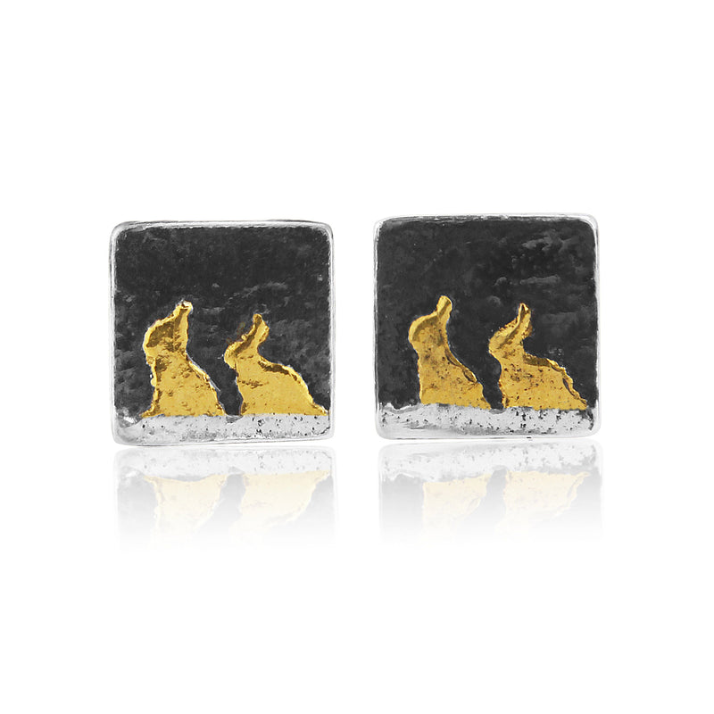 Bunny Rabbit Studs with 22ct gold vermeil