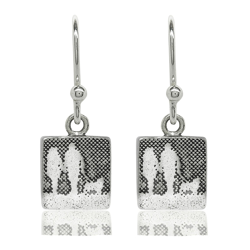 Couple and Mans Best Friend Silver Dog Drop Earrings
