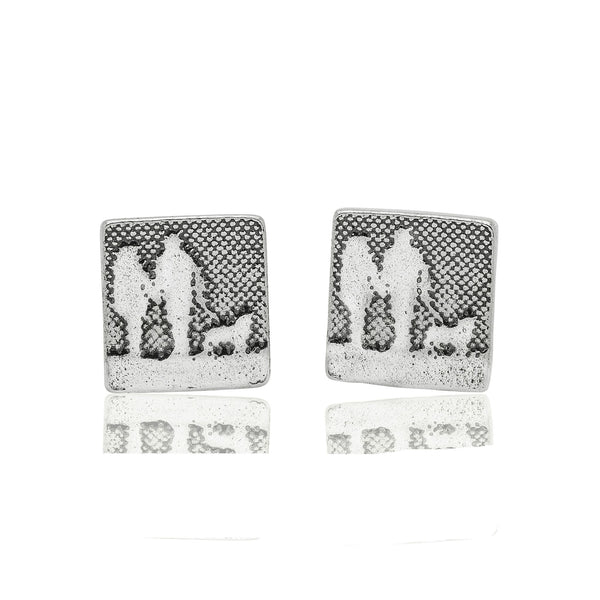 Couple and Mans Best Friend Silver Dog Stud Earrings