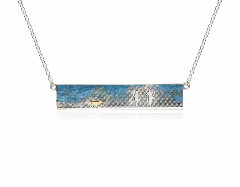 Couple & Dog Necklace with Blue Sky