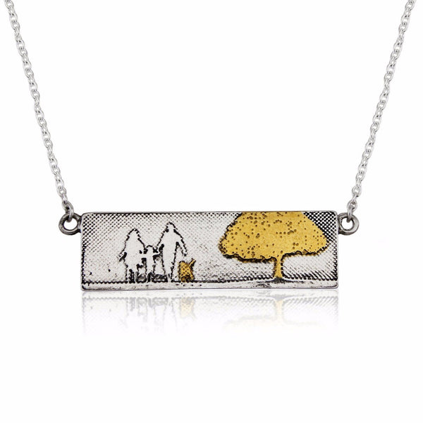 Dog Lovers Golden Family Tree Necklace