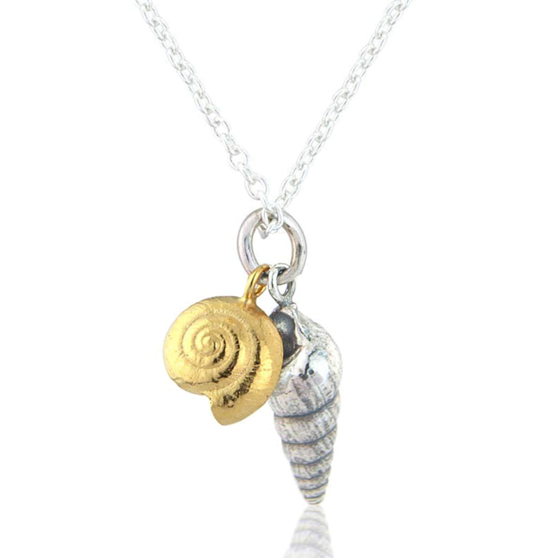 Double Seashell Necklace in Silver & 22ct Gold Vermeil