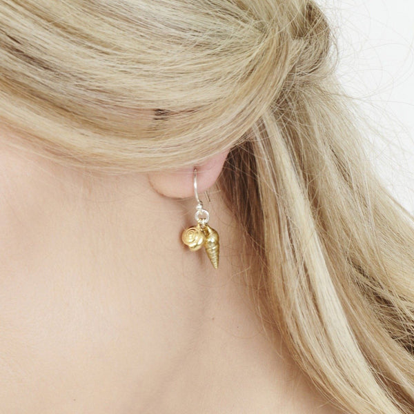 Double Shell Drop Earrings, Silver with 22ct Gold Vermeil