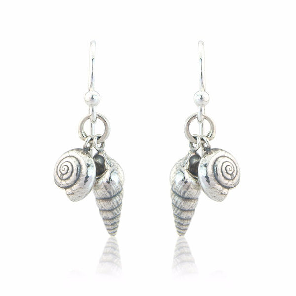 Double Shell Earrings in Sterling Silver