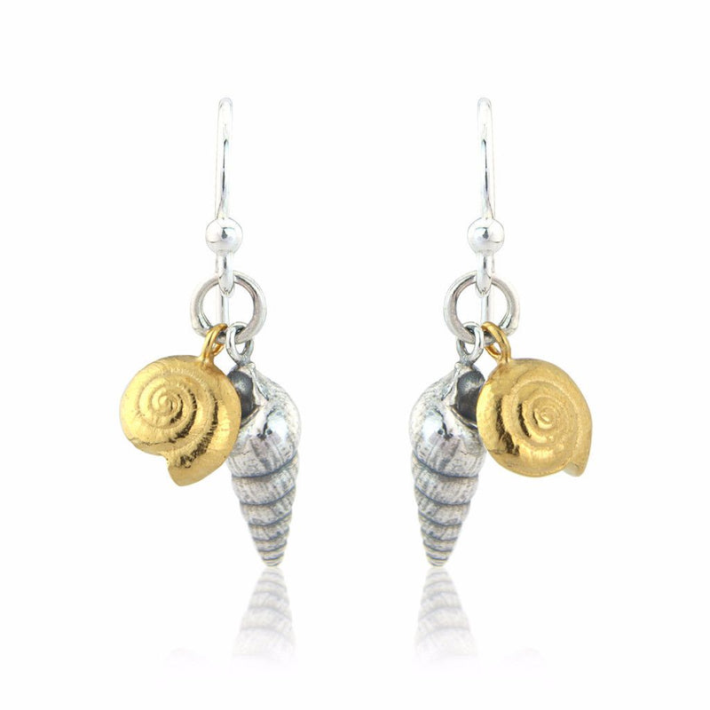 Double Shell Silver Earrings with 22ct Gold Vermeil