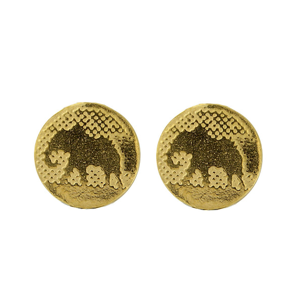 Elephant Stud Earrings with 22ct Gold Vermeil