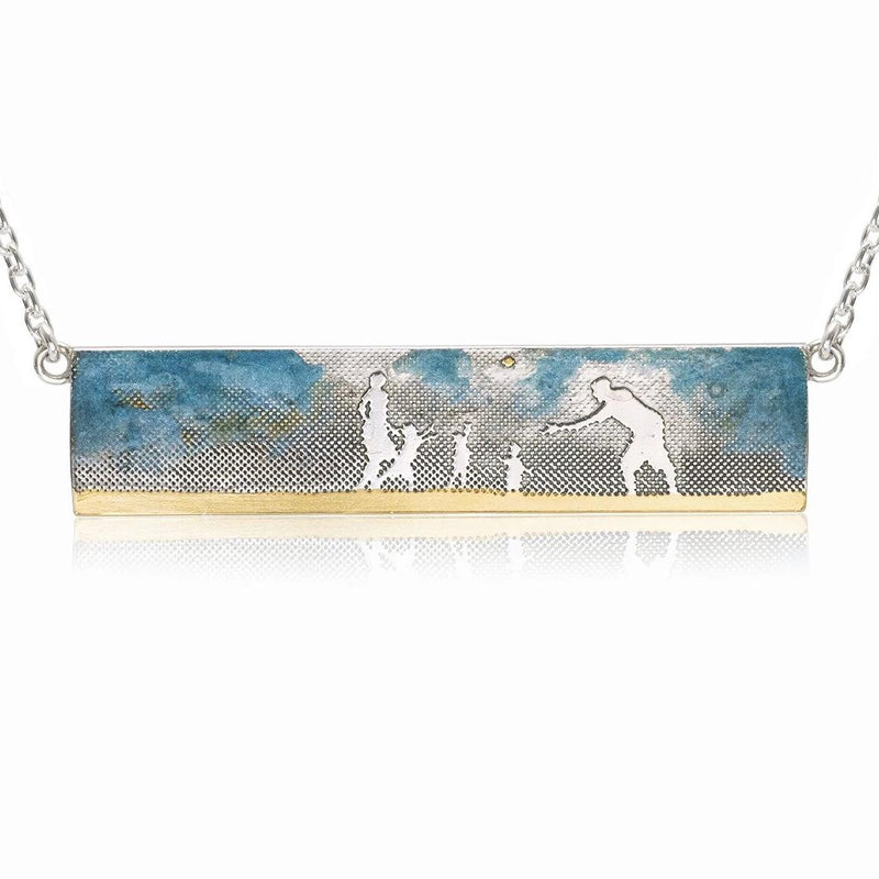 Family Ball Game Landscape Necklace with Blue Sky
