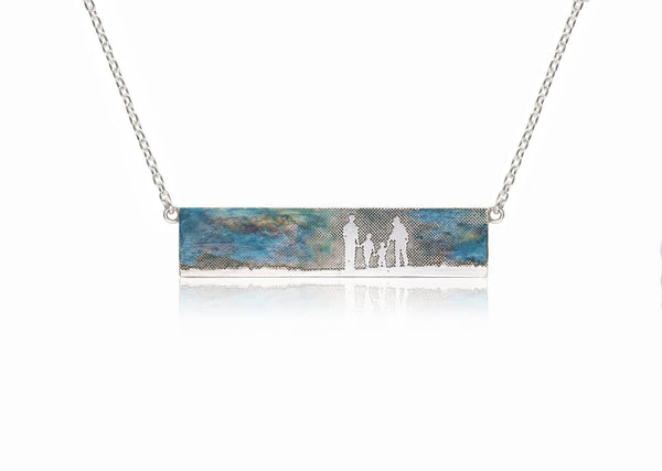 Family Landscape Necklace with Blue Sky