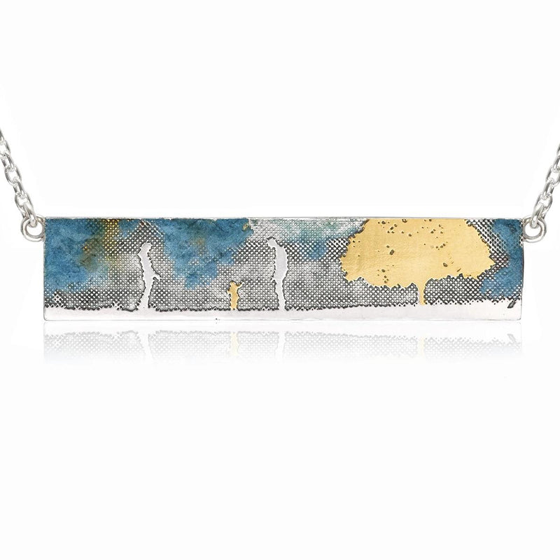 Family & Tree Landscape Necklace with Blue Sky