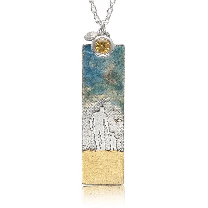 Father & Child Necklace with Blue Sky and Birthstone