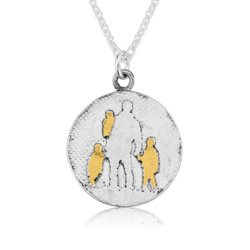 Father of Three Necklace with Golden Children