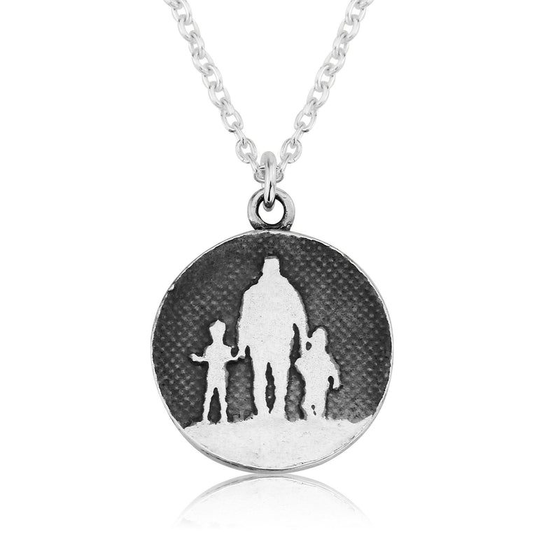 Father of Two Silver Dad Necklace