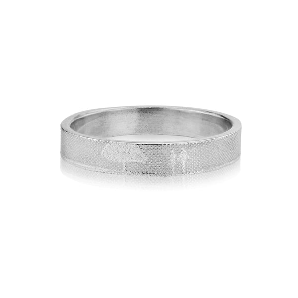 Gents 5mm Countryside Couple Wedding Ring in White Gold/Platinum