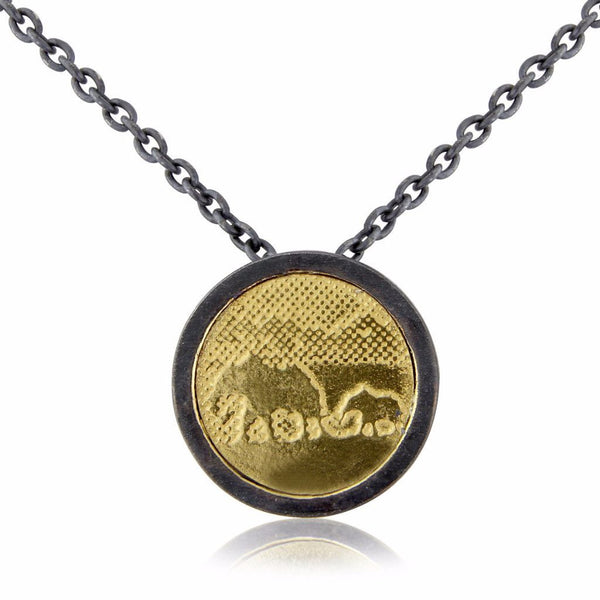 Gold Elephant Necklace with black/silver frame