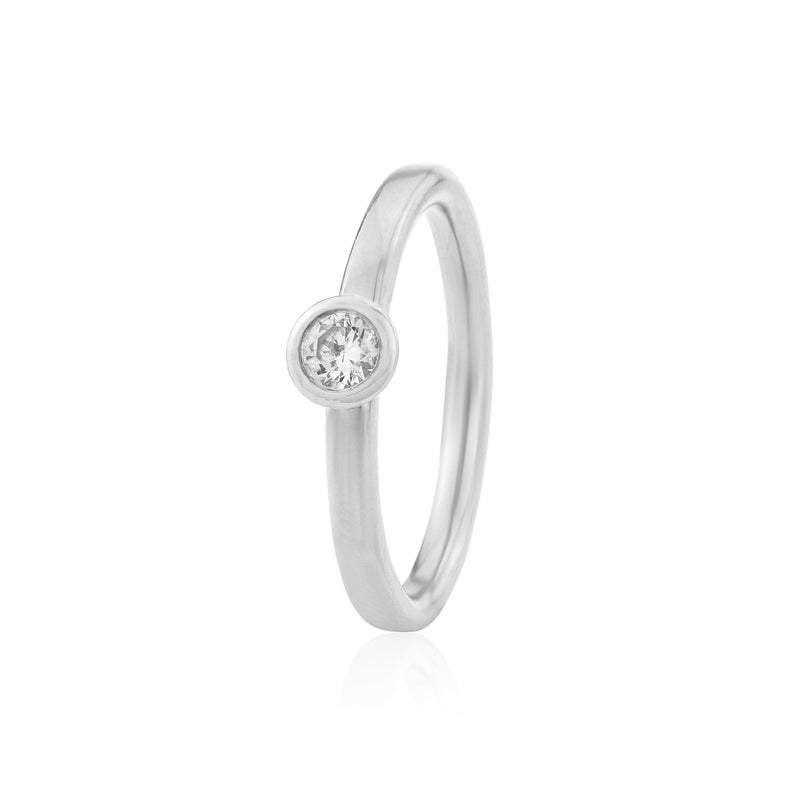 Halo Engagement Ring in White Gold or Platinum