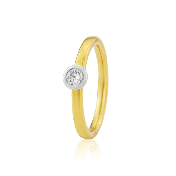 Halo Engagement Ring in Yellow & White Gold