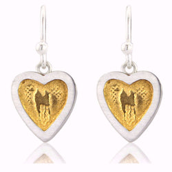 Heart Earrings with Golden Centre