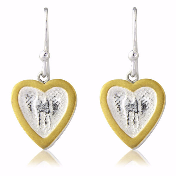 Heart Earrings with Golden Frame