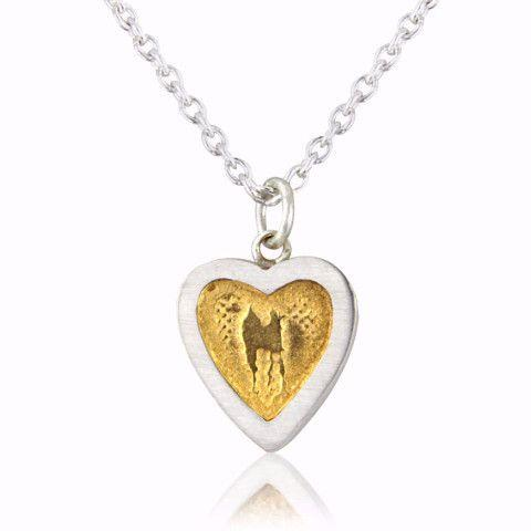 Heart Necklace with Golden Centre