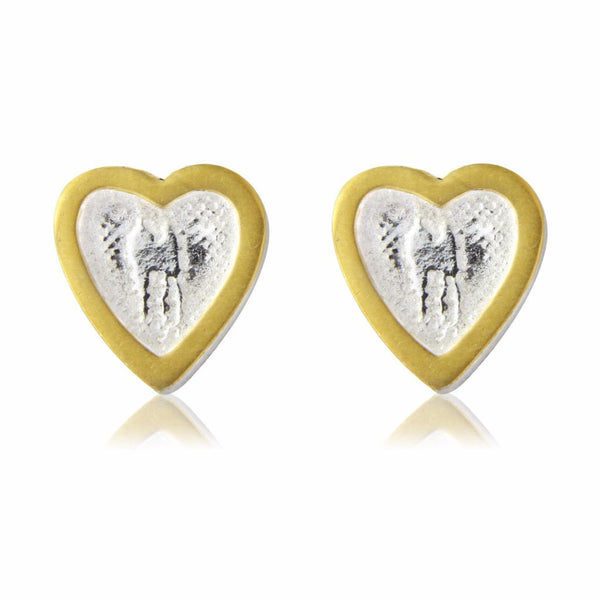 Heart Stud Earrings with Golden Frame