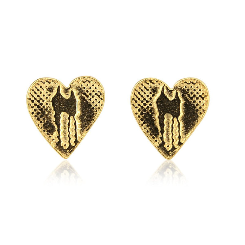 Heart Studs with 22ct Gold Vermeil
