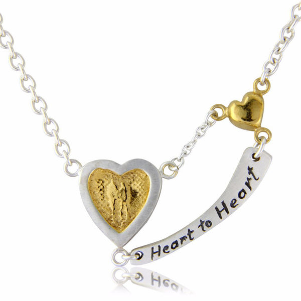 Heart to Heart Necklace With Engraved Message
