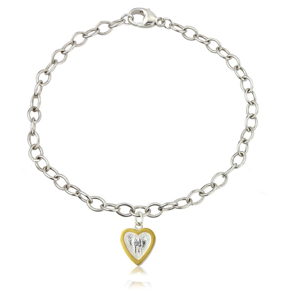 Hearts of Gold bracelet with 22ct inlaid gold frame
