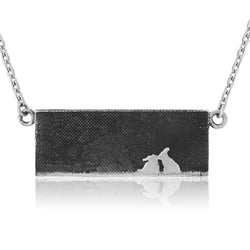 Kissing Bunny Rabbit Necklace with Nights Sky