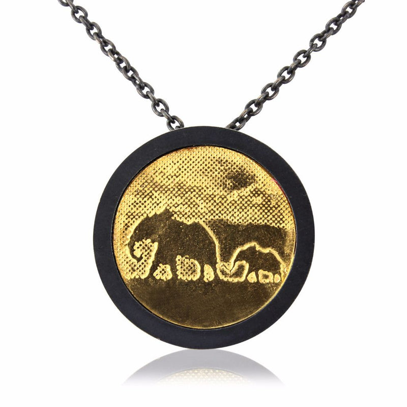 Large Black and Gold Elephant Necklace