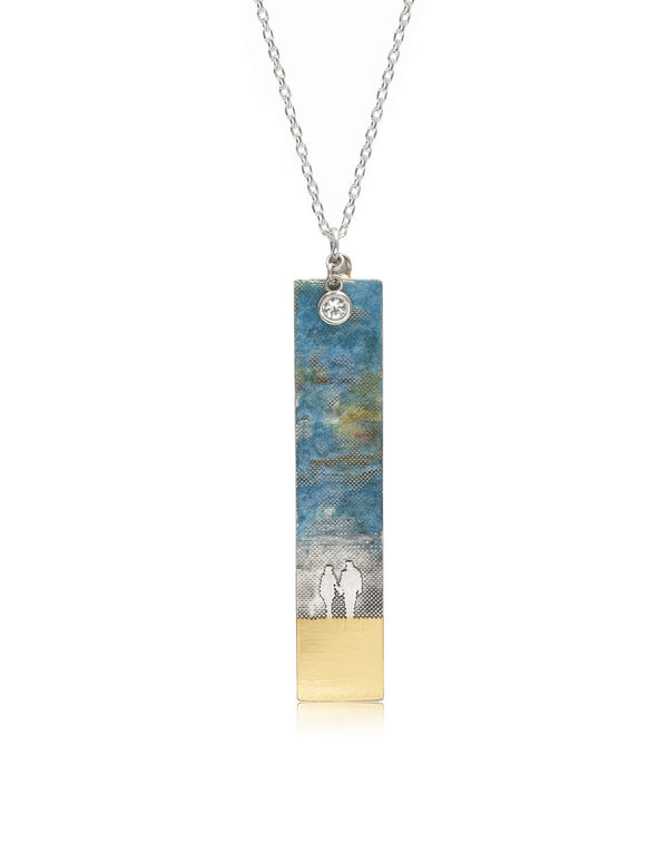 Large Couple on the Beach Necklace with Blue Sky