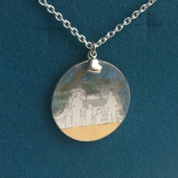Large Round Family Necklace with Blue Sky