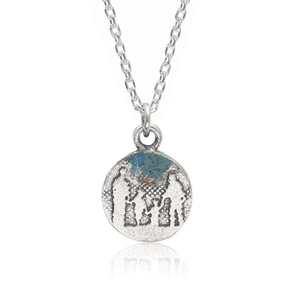 Little Round Family Necklace with Blue Sky