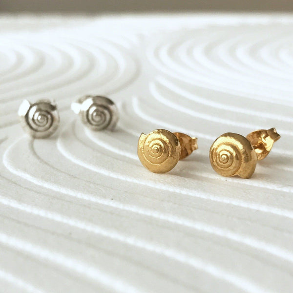 Little Round Gold Sea Shell Earrings