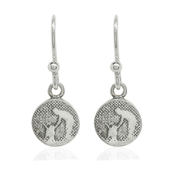 Little Round Silver Dog Drop Earrings