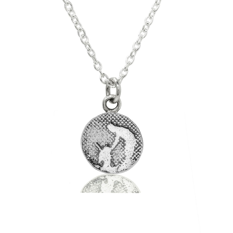 Little Round Silver Dog Necklace