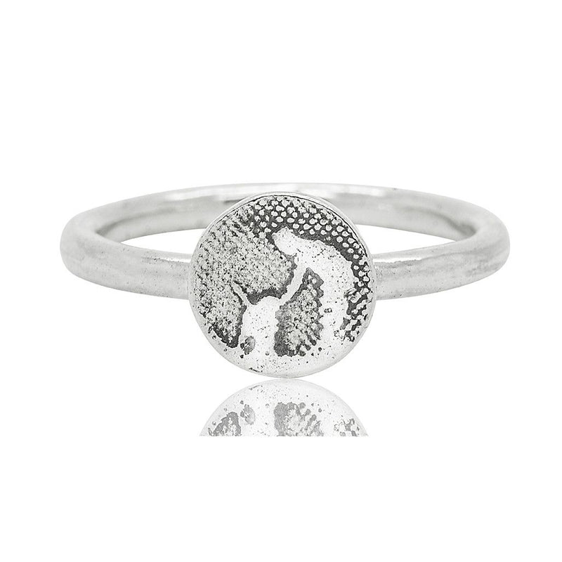 Little Round Silver Dog Ring