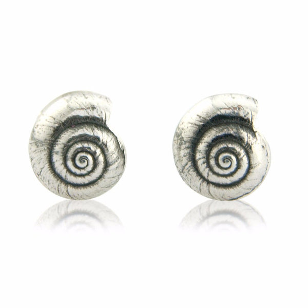 Little Round Silver Shell Earrings